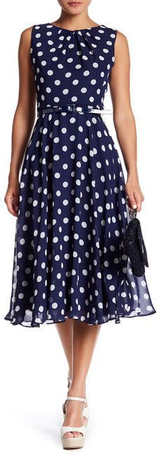 Eliza J Sleeveless Belted Midi Dress - shop the look at Polka Dotted All The Things Boutique