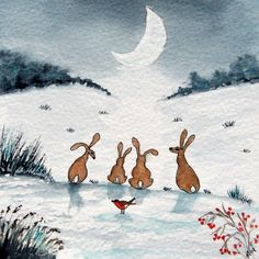 Original Watercolour Painting: ANIMALS/BIRDS:HARES & ROBIN IN THE MOONLIT MEADOW | eBay