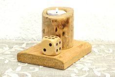 Teelichthalter Kerzenständer mit Würfel Holz Spiel von SchlueterKunstundDesign - Wohnzubehör, Unikate, Treibholzobjekte, Modeschmuck aus Treibholz auf DaWanda.com