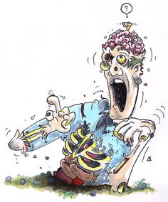Zombie with a worm in his brain emerging from the ground. #Zombie