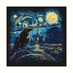 Two artistic minds in one. The Raven in Poe poem watching Van Gogh's Starry Night's Watch Stary Night Painting, Starry Night Art, Starry Nights, Vincent Van Gogh, Van Gogh Art, Art History, Fantasy Art, Art Drawings, Cool Art