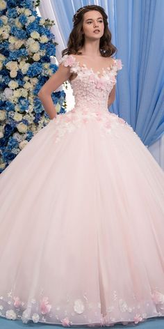 Wedding Dresses Ball Gown, Exquisite Tulle Sheer Jewel Neckline Ball Gown Wedding Dress With Lace Appliques & Flowers & Beadings MagBridal Cute Prom Dresses, Pink Wedding Dresses, Ball Dresses, Pretty Dresses, Bridal Dresses, Evening Dresses, Gown Wedding, Tulle Wedding, Pink Quinceanera Dresses