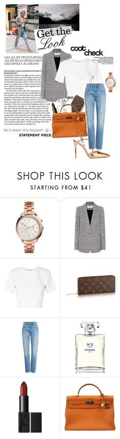 """""""Get The Look: Check Coat"""" by twinklepink ❤ liked on Polyvore featuring FOSSIL, self-portrait, T By Alexander Wang, Levi's, Chanel, Hermès, Gianvito Rossi and statementcoats"""