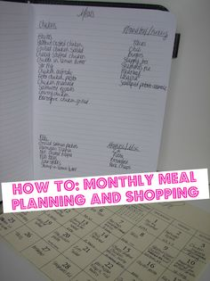 Great monthly meal planning How-to