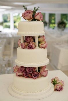 Dusty Rose Wedding Cake by The Little Village Cake Company, simply and stunning