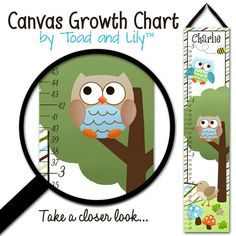 Canvas GROWTH CHART Owls Love Stripes Boys Nature Forest Kids Bedroom Baby Nursery Wall Art on Etsy, $42.00