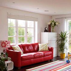 New Home Interior Design: Modern Living Room - Collection 2 Red Couch Living Room, Living Room Decor, Living Rooms, Living Spaces, Red Leather Couches, Living Room Styles, Red Rooms, Living Room Pictures, Cheap Home Decor
