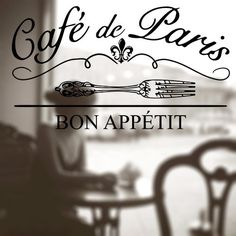 Cafe Paris Window Sign by eAppliques on Etsy, $25.00