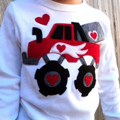 Boys Valentine Shirt MONSTER Truck by sweet3leafprints on Etsy, $27.00
