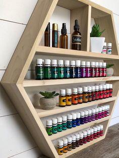 Essential Oil Shelf Essential O Essential Oil Holder, Essential Oil Storage, Essential Oils, Ladder Shelf Diy, Pharmacy Design, Hexagon Shelves, Young Living Oils, Display Shelves, Decoration
