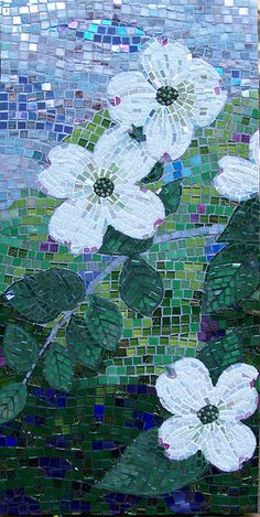 Ode on a Dogwood by Lee Ann Petropoulos X Vitreous, stained glass and jade on MDF Mosaic Artwork, Mosaic Wall, Mosaic Glass, Mosaic Tiles, Mosaic Crafts, Mosaic Projects, Mosaic Designs, Mosaic Patterns, L'art Du Vitrail