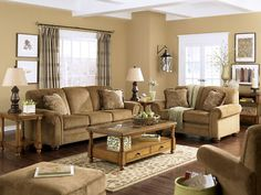 Tampa   Traditional Cottage Tan Chenille Couch Set Living Room Furniture