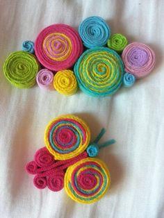 colier fluture Felt Brooch, Felt Art, Felt Flowers, Felt Crafts, Felting, Wool Rug, Quilling, Summertime, Crochet Necklace