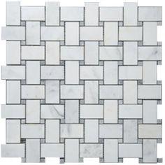 Bianco White Carrara Marble with Grey Dot Honed Basketweave Tile