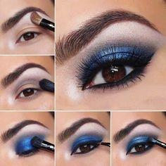Maquillaje de noche para un vestido azul marino