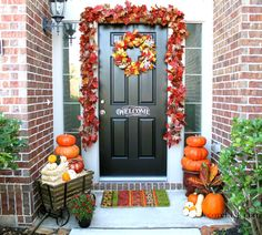 Hang a bold and bright leaf garland. | 21 Fall Porch Ideas That Will Make Your Neighbors Insanely Jealous