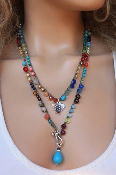Colorful Gemstone Crochet Long Wrap Necklace ,Boho Chic Jewelry - Dainty Crochet Necklace Khaki Nylon Cord (C-Lon) , mm quality semi precious stones, CZ glass- - Dainty Diamond Necklace, Boho Necklace, Boho Jewelry, Gemstone Jewelry, Beaded Jewelry, Jewelery, Silver Jewelry, Crochet Necklace, Jewelry Accessories
