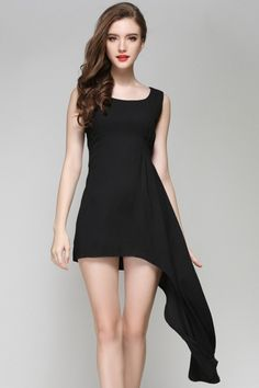 Solid Black Fish Tail Mini Dress - OASAP.com