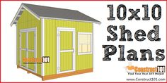 Free shed plans include gable, gambrel, lean to, small and big sheds. These sheds can be used for storage or in the garden. Free how to build a shed guide. 10x10 Shed Plans, Free Shed Plans, Storage Shed Plans, Diy Storage, Shop Plans, Home Depot, Prefabricated Sheds, Shed Sizes, Large Sheds