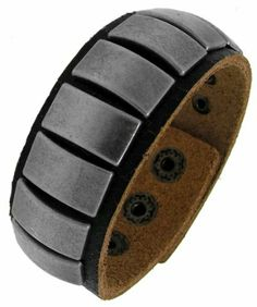 "Genuine Black Leather with Brushed Silver Tone Brass Plates 7-8.5"" Adjustable Wide Bracelet Sterling Silverado. $15.99. Silver Tone Bronze Plates. Adjustable for a custom fit. Can be adjusted between 7-8.5"".. 302535. Unique and Bold. Genuine Black Leather. Save 30% Off!"