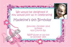 Ballet Shoes Birthday Invitations -  Get these invitations RIGHT NOW. Design yourself online, download and print IMMEDIATELY! Or choose my printing services. No software download is required. Free to try!