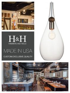 Smooth metal against the warm texture of wood creates the perfect balance between rustic and modern with this hand blown glass pendant light.  The large size and drop shape add an organic sophistication to any room. Exclusive Hammers & Heels design custom handmade in the San Francisco Bay area.