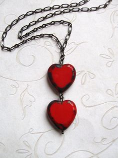 Valentine Necklace - two red hearts - czech table cut beads - sweetheart. $18.00, via Etsy.