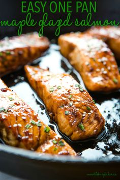 This Easy One Pan Maple Glazed Salmon is the perfect main dish for salmon lovers! Juicy salmon fillets caramelized in an easy maple glaze, on the table in under 20 minutes! Recipe from thebusybaker.ca! #salmon #mapleglazed #castiron #lodgecastiron #onepan #mealidea #easyrecipe #fish #seafood Salmon Recipes, Fish Recipes, Seafood Recipes, Cooking Recipes, Healthy Recipes, Salmon Food, Seafood Meals, Asian Cooking, Cooking Videos