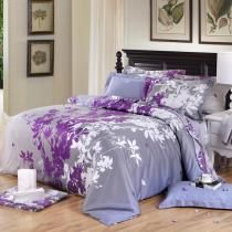 I am planning on painting my bedroom walls purple, I think this grey comforter, with bright purple flowers on it, would complement it perfectly!