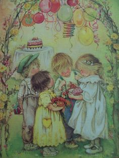 Lisi Martin illustration I adore her work! Holly Hobbie, Vintage Cards, Vintage Images, Spanish Artists, Vintage Birthday, Cute Illustration, Vintage Children, Art For Kids, Drawings