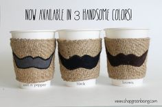 Mustache Coffee Sleeve available in Black, Brown, or Salt n' Pepper... Great gift for your man or your hipster friend's hand.