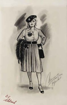 Norma Koch costume sketch for Bette Davis in What Ever Happened to Baby Jane? (1962), Ok'd by Robert Aldrich