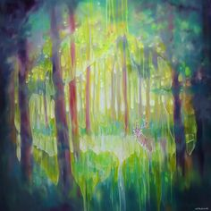 The Hart of the Green Wood is a large contemporary style oil painting of an ethereal deer stag in a clearing in a green forest Green Landscape, Landscape Paintings, Abstract Landscape, Landscapes, Contemporary Landscape, Contemporary Style, Oil Painting Gallery, Green Paintings, Selling Art