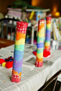 Rainbow Shakers. Paper towel roll 1C pasta, beans or rice, duct tape for the ends and let kids paint. (IF I don't have enough bottles saved)