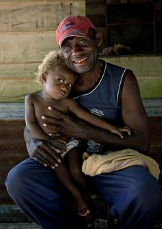 ˚Father And Son, New Ireland Island, Laraibina Village, Papua New Guinea