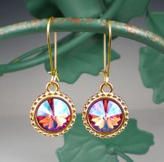 Peach Coral Pink Rivoli Rhinestone Earrings by milminedesign