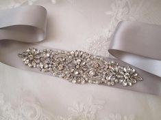 Silver Bridal Sash, Platinum Sash Belt, Platinum Silver Wedding Dress Belt, Crystal & Pearl Bridal Belt, Rhinestone- Diamond Sash