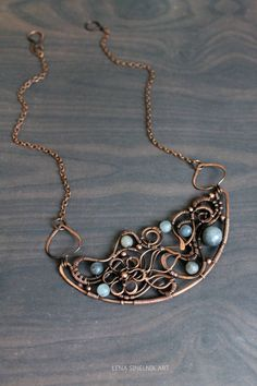 Wire wrap necklaceWire wrapped jewelry handmade by LenaSinelnikArt