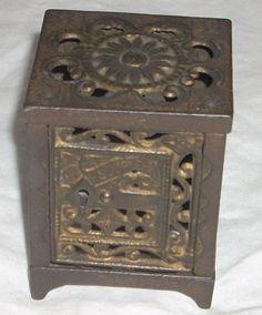 Antique Cast Iron Safe Bank Patented June 2 1886