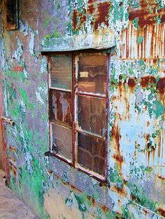 rusty wall and window