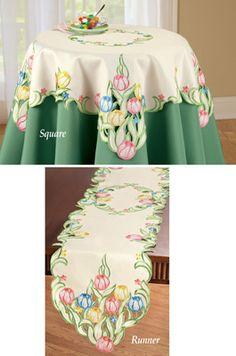 Multicolor Tulips Table Linens