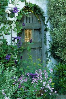 Domythic Bliss: the domythic garden Garden Doors, Garden Gates, Secret Garden Door, Patio Doors, Old Doors, Windows And Doors, Arched Doors, Garden Cottage, Home And Garden