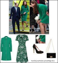 """Kate wore a green wool-crepe """"Allie"""" coat by Erdem over a green and white """"Budding Heart Silk Tree Dress"""" by Suzannah. The Duchess accessorized her outfit with a black suede Bayswater clutch by MULBERRY, black suede Episode Angel pumps, a Ballon Bleu watch by Cartier. and emerald and diamond drop earrings."""