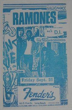 Ramones Rare Fenders Original Concert Tour Poster Punk Flyer