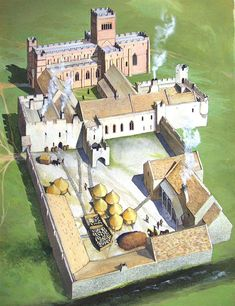 A reconstruction drawing showing how the priory buildings may have looked in about 1500 © English Heritage (drawing by David Simon) Fine Art Prints, Canvas Prints, Framed Prints, Medieval Castle, Medieval Life, Medieval Fantasy, Villas, Early Middle Ages, English Heritage