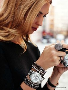 I like the bracelets before and after the watch.  Must try that...I have bracelets I want to make...