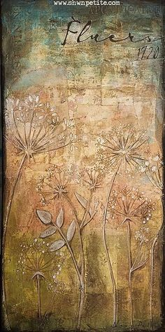 .Vintage Flowers. Love this mixed media project featuring the Wildflowers stencil.