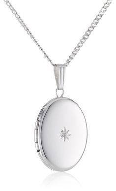 925 Sterling Silver w//Diamond Accent Patterned Footprints Oval Locket Pendant Holds 2 Pictures