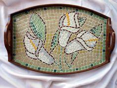 Calla Lily Zantedeschia Flower Pattern Mosaic Tray by Pamphylian, $215.00