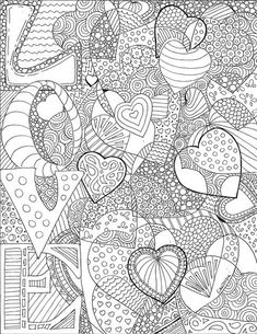 Love adult coloring page Skull Coloring Pages, Heart Coloring Pages, Printable Adult Coloring Pages, Animal Coloring Pages, Coloring Pages To Print, Mandala Coloring, Colouring Pages, Coloring Books, Coloring Sheets